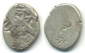 These punch-marked silver coins might befrom the time of Chandragupta I
