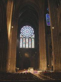 Chartres cathedral crossing and transept, with the rose window