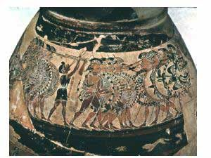 Greek soldiers - hoplites marching in a row (Chigi Vase, ca. 650 BC)
