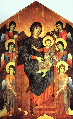 Cimabue's Madonna and Jesus, in Louvre Museum, Paris