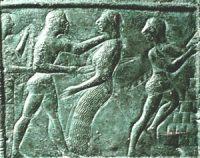 Orestes kills his mother while Electra looks on and Aegisthus runs away. Bronze, ca. 570 BC, Olympia, Greece