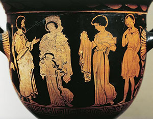Creusa gets her new magic dress from a slave - Greek red figure vase