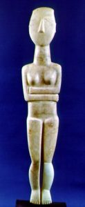 A Cycladic figurine in marble