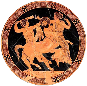 Nessus kidnaps Deianira (Athens, ca. 420 BC,now in the Museum of Fine Arts, Boston)
