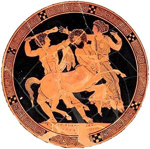 Nessus kidnaps Deianira (Athens, ca.420 BC,now in the Museum of Fine Arts, Boston)