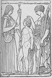 Demeter, Persephone, and Triptolemos (the boy), an 1899 drawing from a stone carving found at Eleusis .