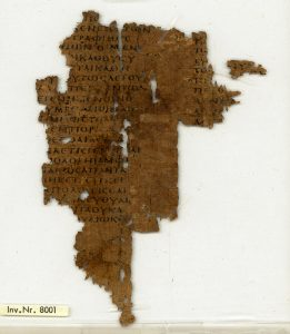 A papyrus of Demosthenes' speeches from Egypt, about 250 AD.