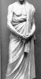 A stone statue of a white man with a beard: Demosthenes