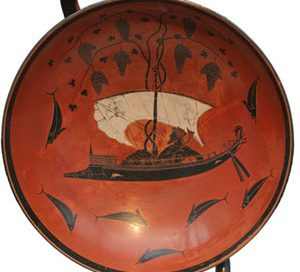 Dionysos turns a ship into grapevines, and the bad sailors into dolphins (Athenian black-figure vase from the 500s BC)