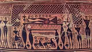 Athenian funeral scene (Dipylon vase, Athens)