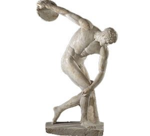 Discobolos (the Discus Thrower) (This is a Roman copy; the Greek one didn't last)