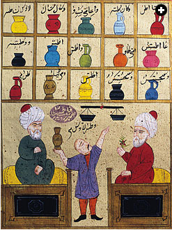 From an Ottoman manuscript, two doctors telling the pharmacist how to make different medicines: Medieval Islamic medicine