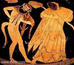 A red figure vase shows a naked satyr and a woman with her head thrown back in a dress