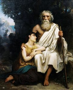 A later painting of Antigone and Oedipus, by Camille Felix Bellanger, in the 1800s.