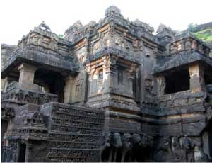 A Hindu temple carved at Ellora