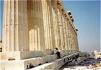 Parthenon columns showing the entasis - the optical illusion