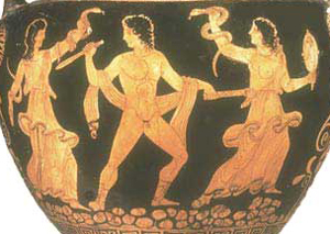 The Furies torment Orestes Red-figure vase