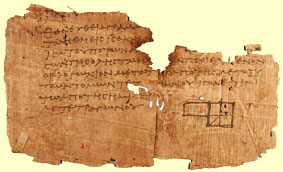 Greek math on an Egyptian papyrus from about 100 AD which is a piece of one of Euclid's books