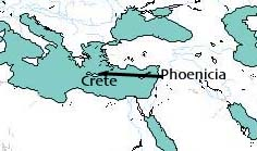 Europa's travels from Phoenicia to Crete