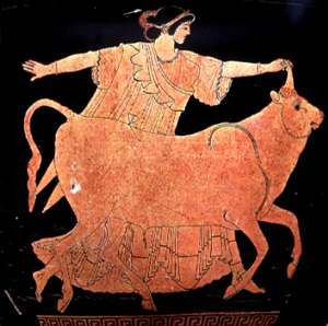 Europa holding the horn of Zeus (disguised as a bull) - Athenian vase found in northern Italy, 480 BC