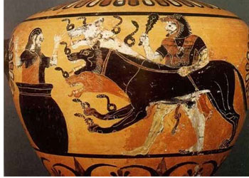 King Eurysthenes hides in a jar, while Hercules threatens him with his dog Cerberus