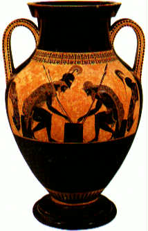 Black-figure amphora by Exekias showing Achilles and Ajax playing checkers
