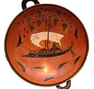 Exekias: Dionysos turning a ship into vines (Athens, ca. 530 BC)