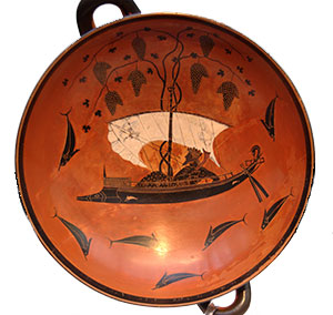 Exekias: Dionysos turning a ship into vines (Athens, ca. 530 BC)