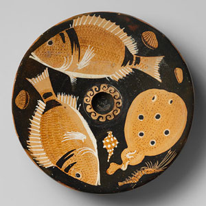 Platter with fish painted on it - Ancient Greek food