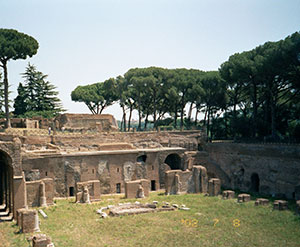 Remains of a brick peristyle from the palace of the Roman Emperors in Rome