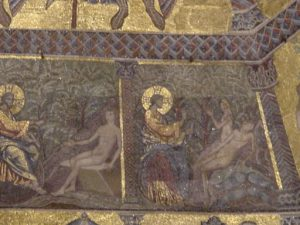 God making Adam and Eve, on a mosaic in the baptistery of Florence