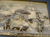 A doorpanel by Ghiberti showingCain and Abel.