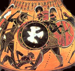 Herakles fighting the monster Geryon who had three heads and three bodies, on a black-figure vase from Athens (500s BC)
