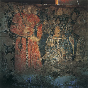 Painting from the Lashkari Bazar of two palace guards