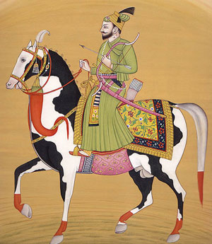 Gobind Singh: an Indian drawing of a pale man riding a horse in robes
