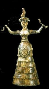 Minoan goddess or woman holding snakes
