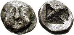 Obol minted under Pisistratus with the head of Medusa