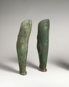 Greaves (leg armor) from ancient Greece