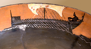 Black-figure vase showing a sailing ship with rowers at the oars - Greek ships