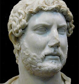 Hadrian: marble head of a white man with a short beard