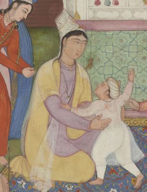 Hamida Banu and Akbar: a painting of a kneeling woman whose little son runs to her. Mughal Empire