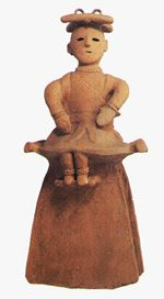 Haniwa seated woman from a kofun tomb, possibly a Shinto religious leader (ca. 500 AD)
