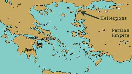 Map showing the Hellespont as a narrow bit of sea between Turkey and Thrace