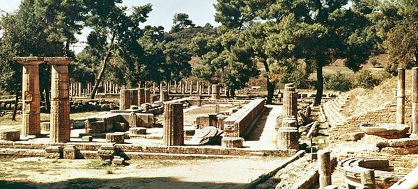 The temple of Hera in Olympia, Elis, Greece