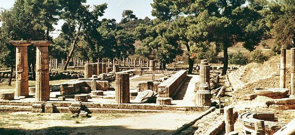 The temple of Hera in Olympia, Elis, Greece