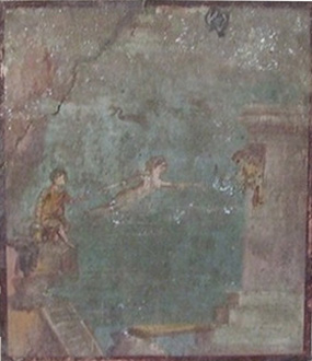 Leander swimming to Hero (from Pompeii)