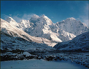 Himalayas: tall mountains with snow on top