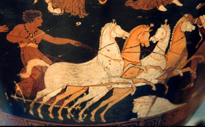 Hippolytus drives his chariot away (Southern Italy, ca. 350 BC)