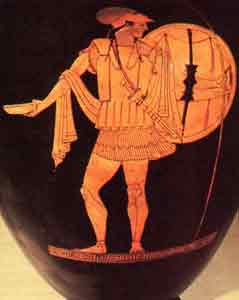 Red-figure vase with a hoplite in armor (about 450 BC)