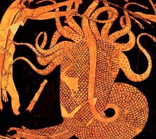 Herakles fights the hydra: a monster with many snakes coming out of it like an octopus
